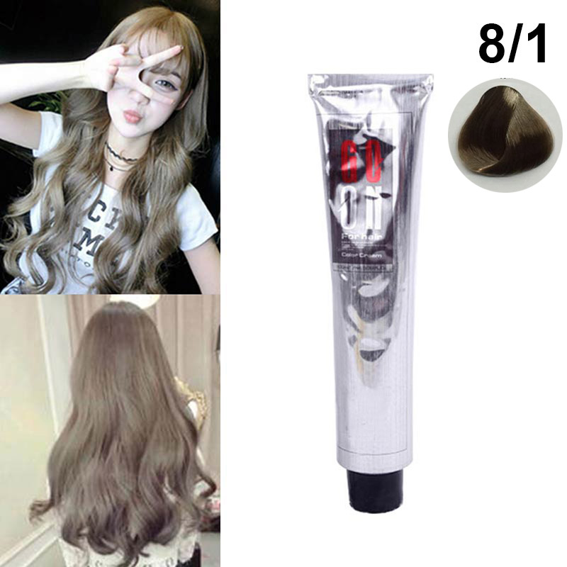 100ml Fashion Hair Cream Natural Permanent Professional DIY Dye Hairs Smoky Grey Coloring Light Gray Flaxen Style HS11