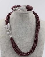 Ein satz 10 reihen granat tound faceted 3mm halskette armband leopard verschluss 18 zoll großhandel perlen natur FPPJ frau 2017