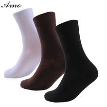 Arno 3 Pairs Solid Men Socks 2016 Basic Crew Cotton Plain Male High Quality Gift Box Sport Socks, LW5004-3