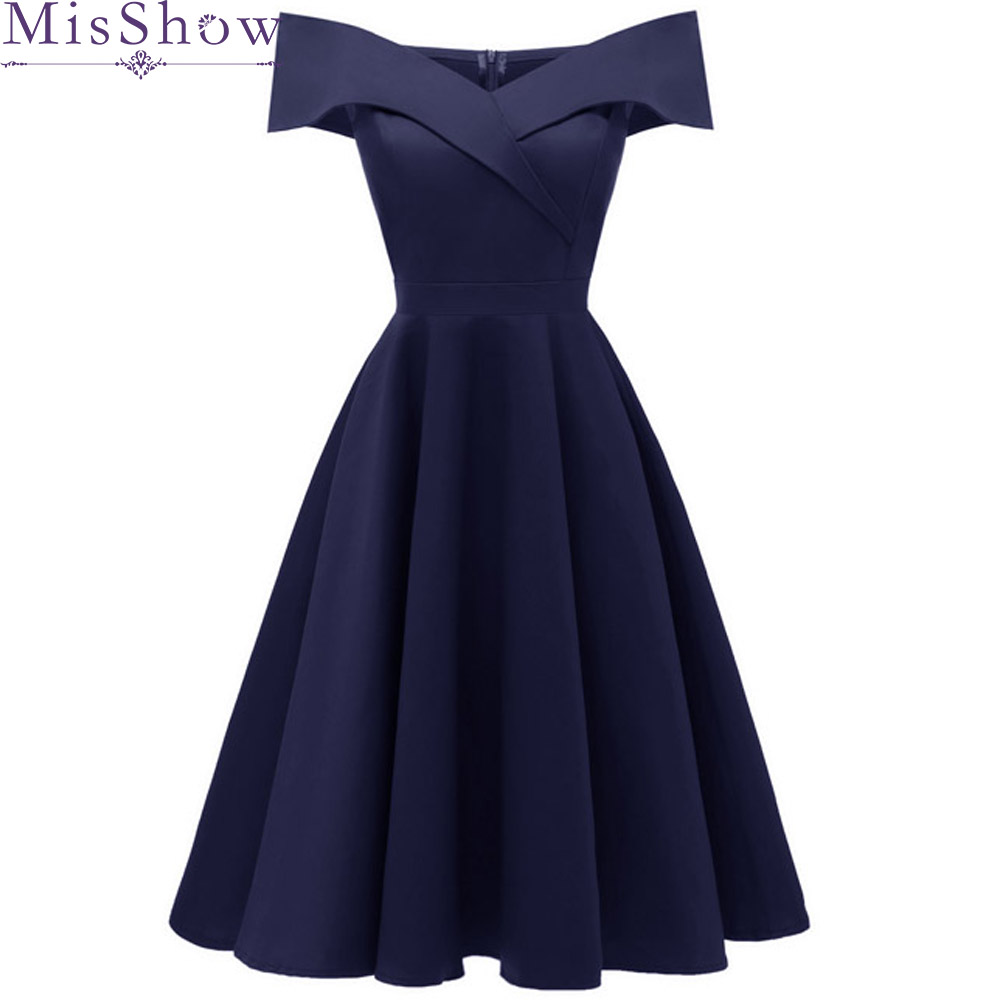 Navy Blue Short Evening Dresses 2019 Off The Shoulder A-line Formal Dress Evening Gown Party Dresses Prom Dress Robe De Soiree