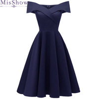 Navy Blue Short Evening Dresses 2019 Off the shoulder A line Formal Dress Evening Gown Party Dresses prom dress Robe De Soiree