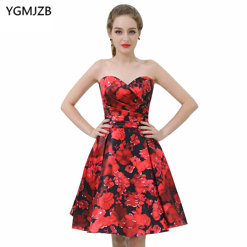 New Arrival Floral Print   Cocktail     Dresses   2018 A Line Sweetheart Sleeveless Short Prom   Dresses   Mini Party   Dresses