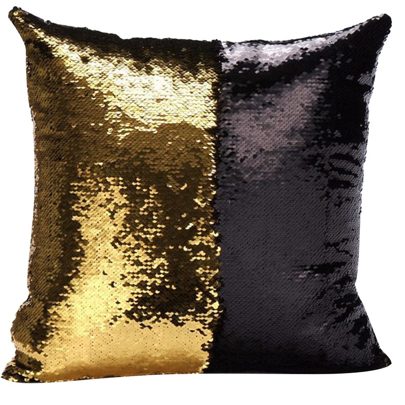 Hot Sales New Fashion VR Discoloration Magic Pillow Two Tone Glitter Sequins Pillows Decorative Cushion Case Covers in Pillow Case from Home Garden
