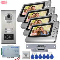 For 4 Apartment Video Intercom For A Country House Rfid IR Camera With 4 Monitors Video