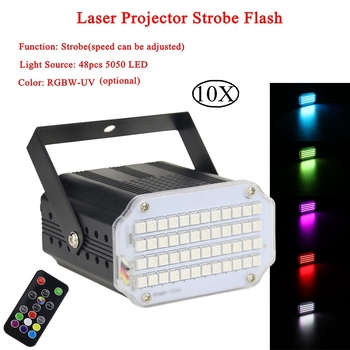 10Pcs/Lot Aluminium Alloy Shell DJ Disco Sound Activated Laser Projector Strobe Flash 7 Colors 48 LED Stage Music Party Lights