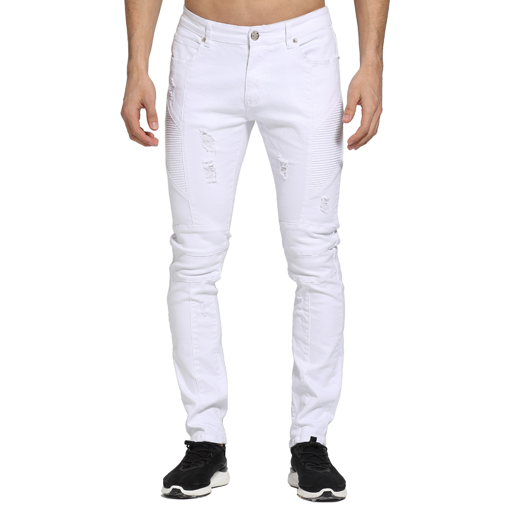 2017 Fashion White Men Jeans Design Ripped Skinny Biker Jeans For Men E1703-in Jeans from Menu0026#39;s ...