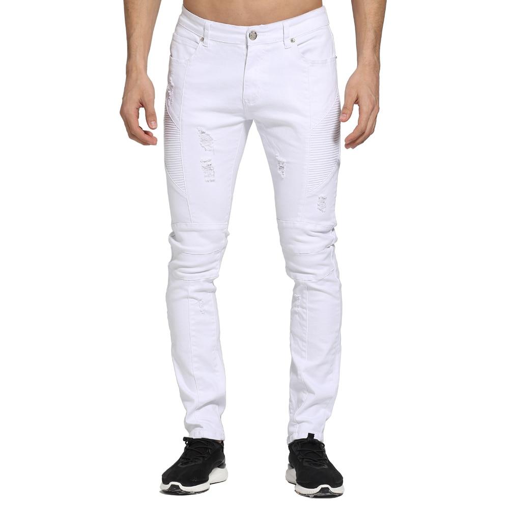 2017 Fashion White Men Jeans Design Ripped Skinny Biker Jeans For Men E1703