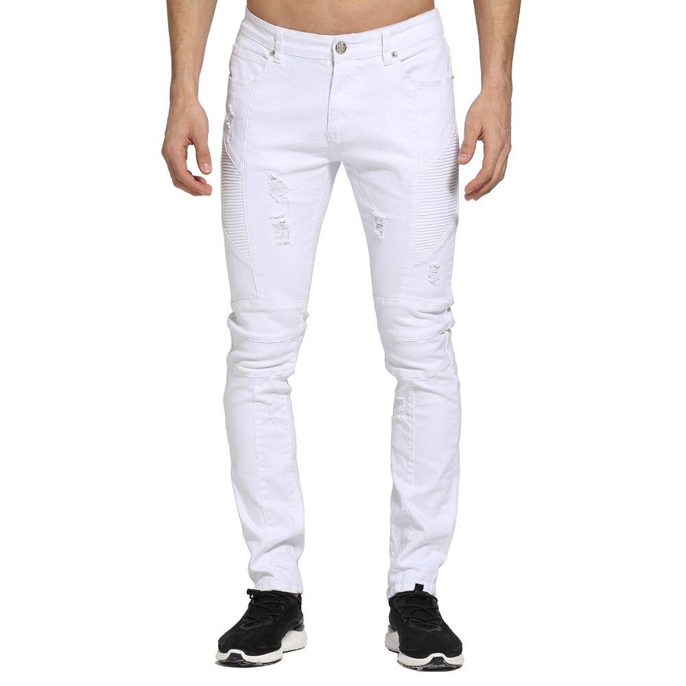 2017 Mode Weiß Männer Jeans Entwurf Zerrissene Dünne Biker Jeans Für Männer E1703 Klar Und Unverwechselbar
