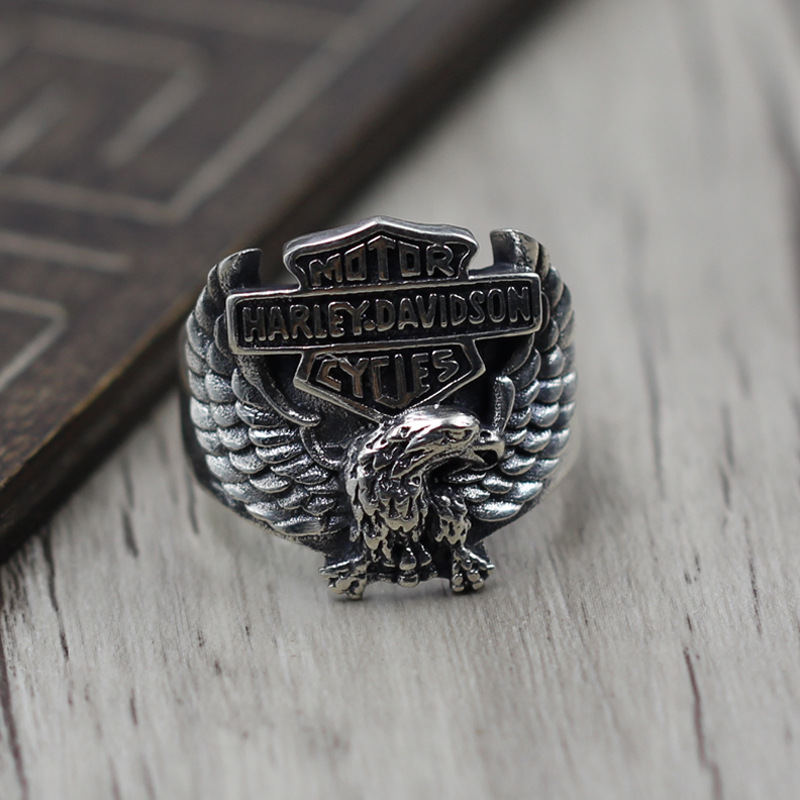Sterling Silver 925 Build Retro mens Finger Ring Thai Silver Personality Hale Eagle Open Ring