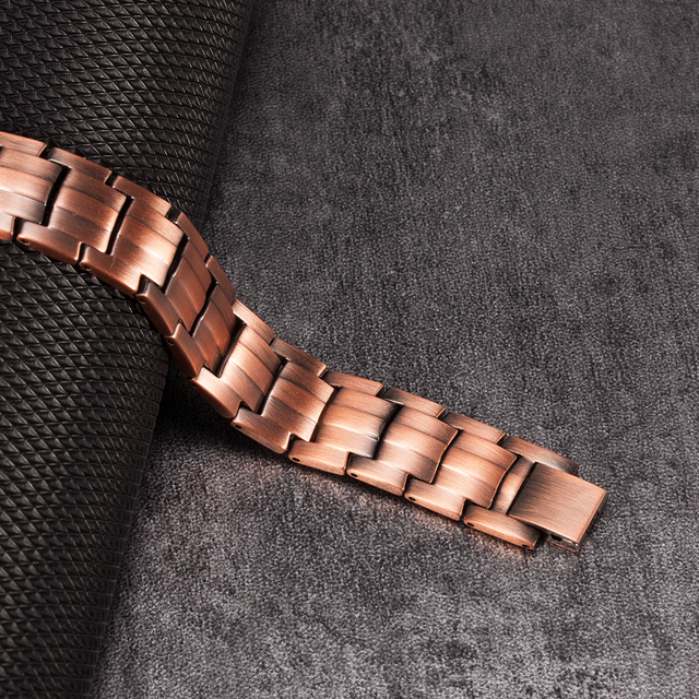 Vinterly Pure  Magnetic Bracelet Copper Vintage Hologram Chain & Link for Men 2