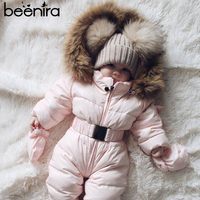 Beenira Baby Rompers 2019 New Winter Baby Warm Clothing New Born Baby Hooded Clothes Jumpsuit Cotton Clothes For 3 24 Month