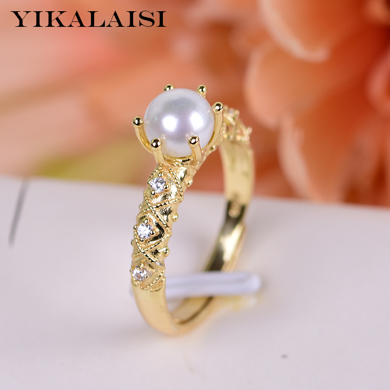 YIKALAISI 925 Sterling Silver Natural Freshwater Pearl Rings Jewelry For Women 6-7mm Size Pearl 4 Color White Pink Purple Black
