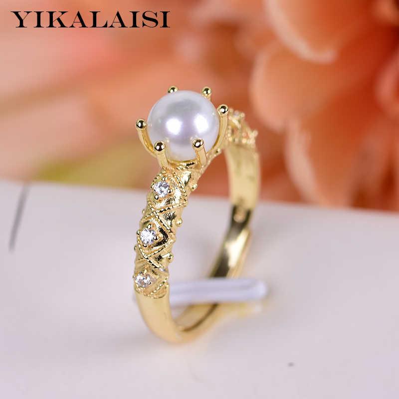 Yikalaisi 925 Sterling Perak Mutiara Air Tawar Alami Cincin Perhiasan untuk Wanita 6-7 Mm Ukuran Mutiara 4 Warna Putih merah Muda Ungu Hitam