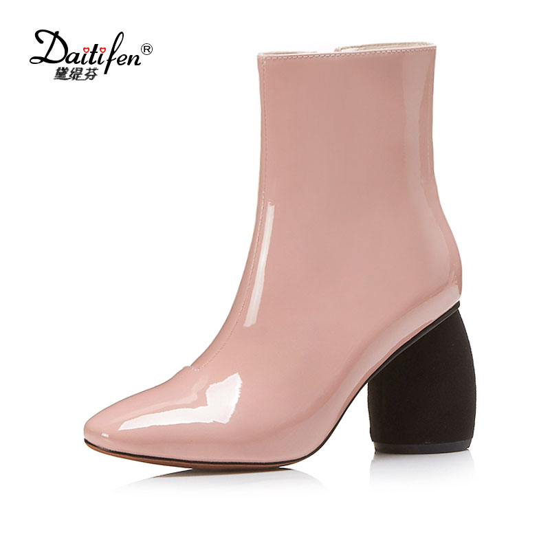Daitifen Patent Leather Ankle Boots Women Patent Square toe Zipper Female Boot Autumn Thick High Heels Winter Boots Woman Shoes amazing designer booties patent leather patchwork ankle boots chinel high heels zipper autumn motorcycle boots for women pumps