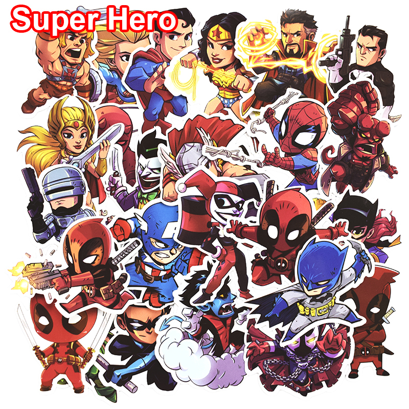 50 Pcs Don't repeat Super Hero Cool Stickers for Laptop Car Styling Phone Bicycles Luggage Motorcycle PVC Waterproof Sticker bevle 50pcs tide brand stickers for laptop car styling phone luggage bike motorcycle mixed cartoon pvc waterproof sticker