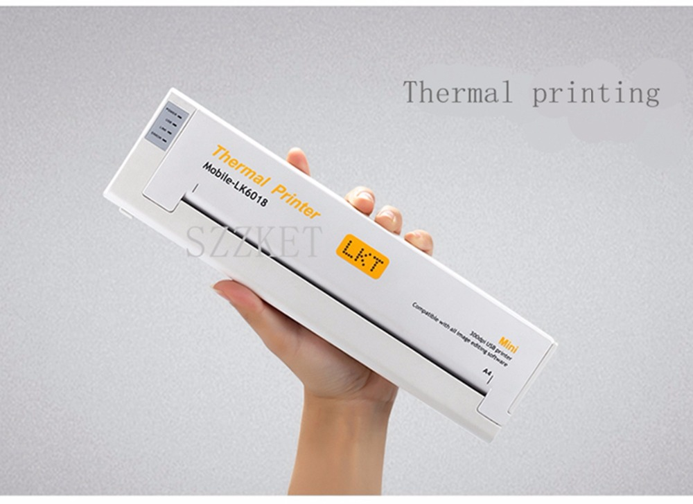 A4 thermal printer mini portable printer No ink cartridge printer USB interface Home office printer 1 image