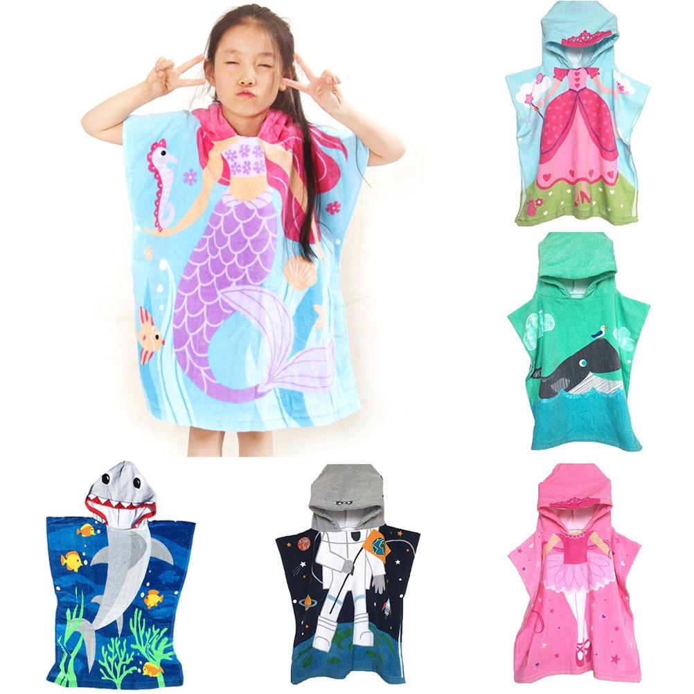 US 2019 Children Cute Cartoon Cloak Hooded Beach Towel For Bath Beach Boys Girls