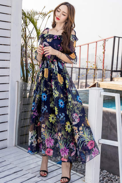 Online Shop Summer women Floral Print Chiffon long Dress Elegant Vestido  slash neck cultivating Casual Bohemian sexy beach dress XXXXL18006  f36d0faace5d