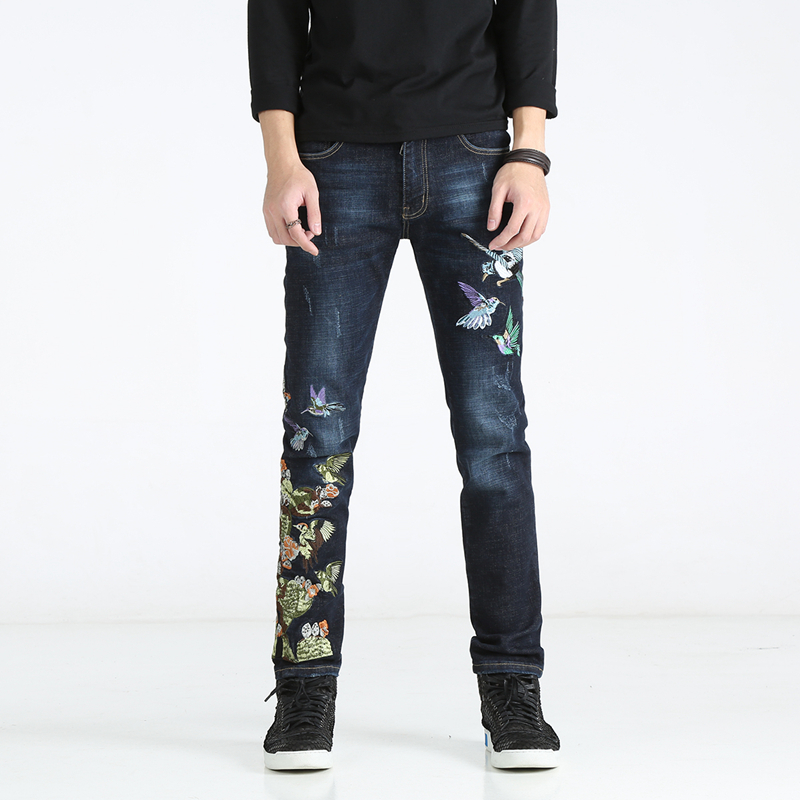 28-38 !!! 2018 American and European embroidery jeans male character is especially slim and thin elastic blue