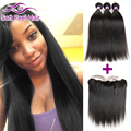8A Mink Indian Straight Virgin Hair 3/4 Bundles With Frontal Closure Indian Remy Hair Straight Lace Frontal Closure With Bundles