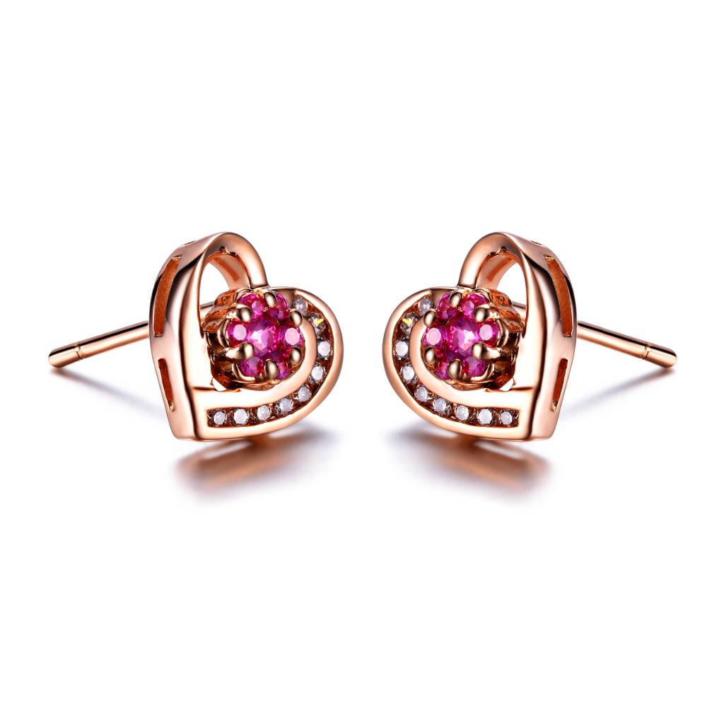 Zocai Heart Shape Genuine Ruby Gemstone 0 17 Ct Certified Stud Earrings With 1 Diamond 18k Rose Gold Au750 E00057 In From Jewelry