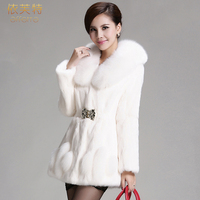 Rabbit fur coat fox fur female autumn and winter new arrival medium long fur overcoat slim women's clothing real fur