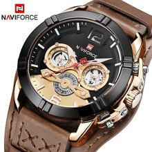 Naviforce Jam Tangan Pria Vintage Retro Punk Rock Leather Kuarsa Sport Jam Tangan Tanggal Clock Relogio Masculino Homme Saati Zegarek(China)