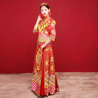 Embroidery Phoenix Wedding Cheongsam Red Traditional Chinese Dress Bride Marry Qipao Dragon Costume Oriental Dresses Robe