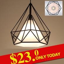 Negro moderno luces colgantes birdcage hierro retro minimalista Escandinavo luz desván lámpara pirámide metal jaula con bombilla led