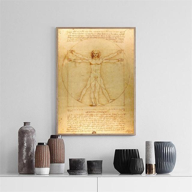 Pintura clásica famosa de Vitruvian Man, estudio de proporciones por Leonardo da, póster impresiones pared arte lienzo pintura decoración