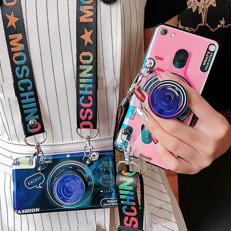 <font><b>3D</b></font> Retro Camera lanyard <font><b>Case</b></font> For <font><b>Vivo</b></font> Y97 Y95 Y93 Y91 Y85 Y83 Y81 Y79 Y75 <font><b>Y69</b></font> Y67 Y66 Y55 Y53 Silicone Stand Holder <font><b>Case</b></font> image