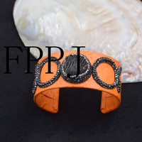 Orange Leather And Coral Unique Style FPPJ Bracelet Wholesale Beads Nature 7 5inch