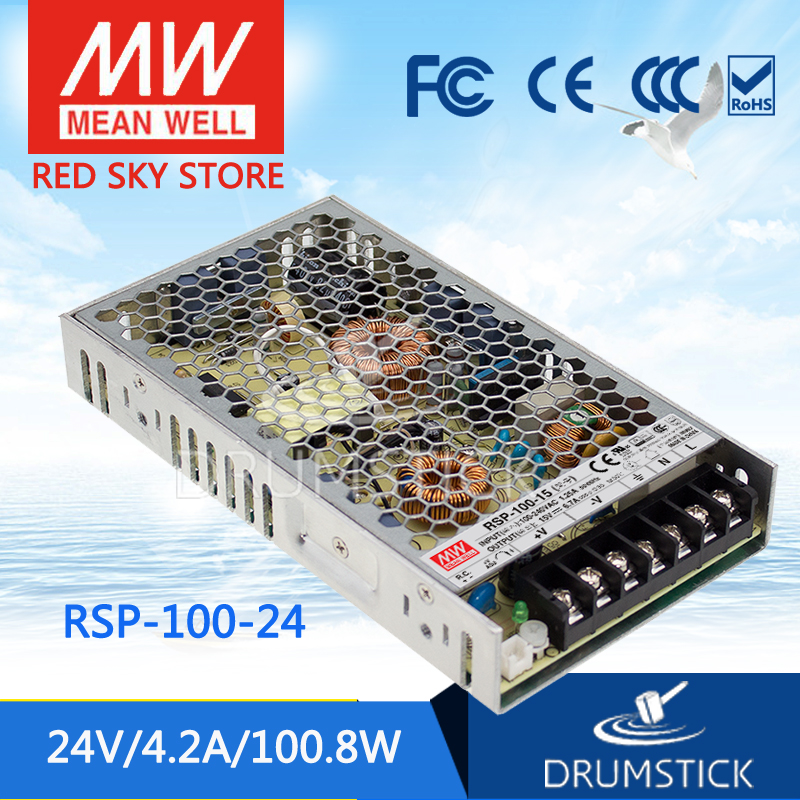 Genuine MEAN WELL RSP-100-24 24V 4.2A meanwell RSP-100 24V 100.8W Single Output with PFC Function Power Supply 100% original mean well epp 100 24 24v 3 2a meanwell epp 100 24v 76 8w single output with pfc function [real1]