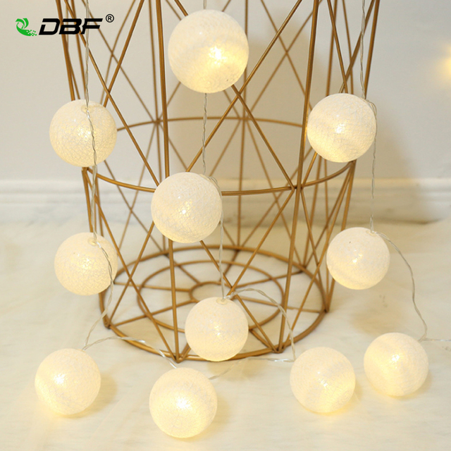 [DBF]20 Globes LED Cotton Christmas Ball Light Dry Battery Operated 3M String Lights for Banquet Home and Trees Holliday Decor