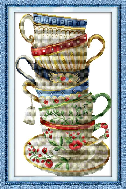 Hot elegant coffee cup dmc cross stitch kits 14ct white 11ct print hot elegant coffee cup dmc cross stitch kits 14ct white 11ct print on canvas embroidery set sewing hand made crafts home decor malvernweather Gallery