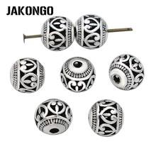 JAKONGO бусины в форме сердца Античные посеребренные полые свободные бусины для изготовления ювелирных изделий браслет ювелирные аксессуары 8 мм 10 шт