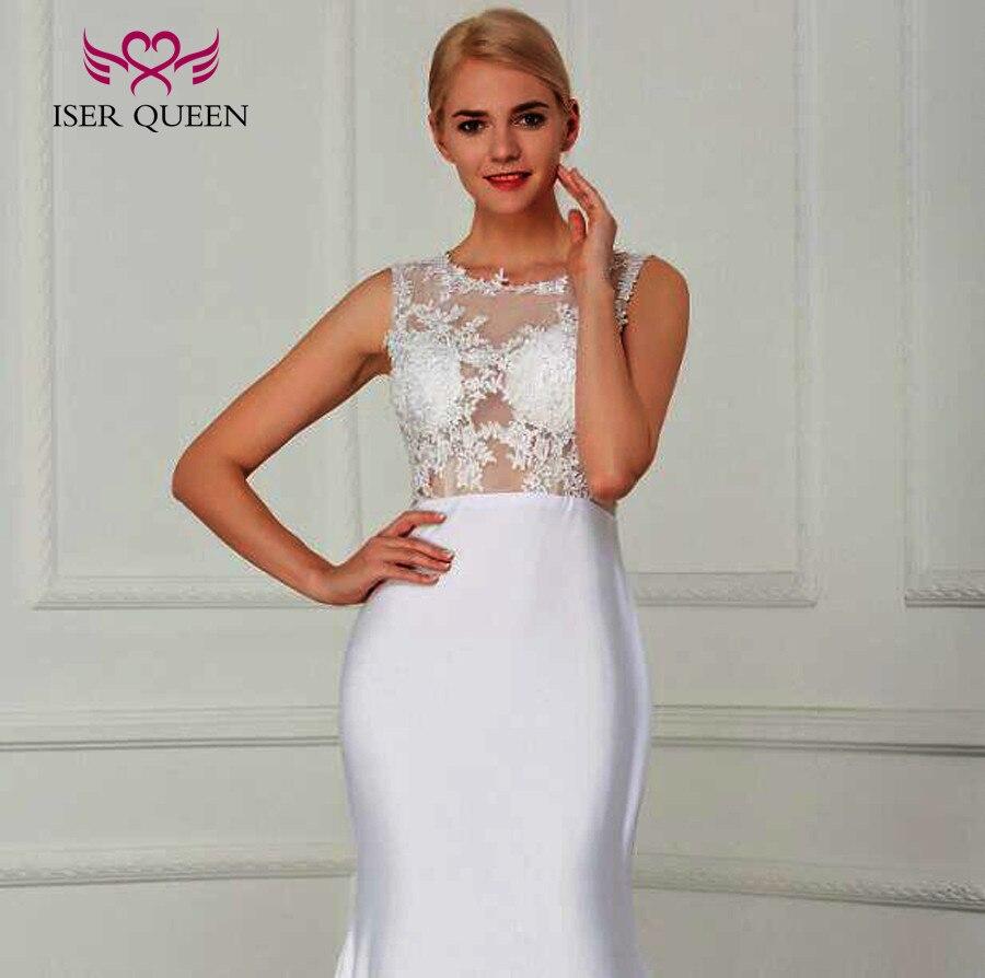 Vestido de novia de sirena sencillo de satén elástico de ilusión Sexy 2019 Color blanco de talla grande vestido de novia elegante W210 - 5