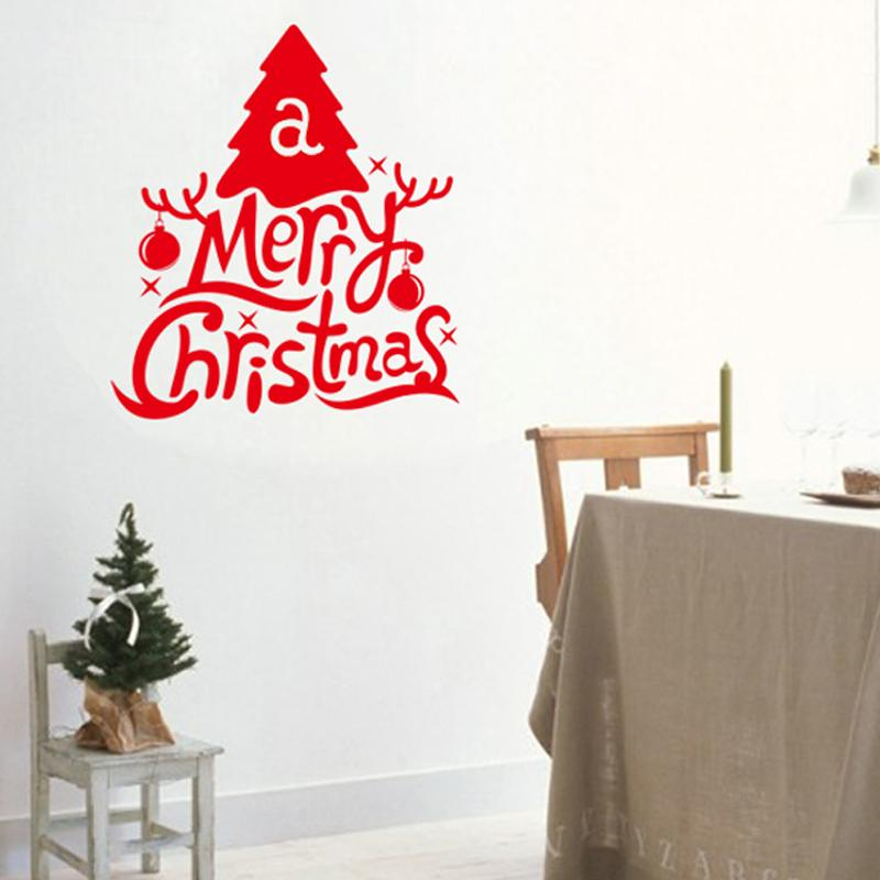 Merry Christmas Tree Wall Stickers Christian Room Home Decoration 19. Diy  Vinyl Xmas Quotes Decals Festival Mual Art Posters 5.0 In Wall Stickers  From Home ...