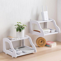 Double-deck Router Stand Storage Rack Multi-Function TV Set-top Box TV Remote Control Flower Pots Sundries Hanging Wall Shelf
