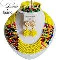 De moda! Boda nigeriano Beads Africanos Joyería Conjunto Amarillo Opaco mezclada Cadena Collares de Cristal Botón Perno Prisionero NC1944