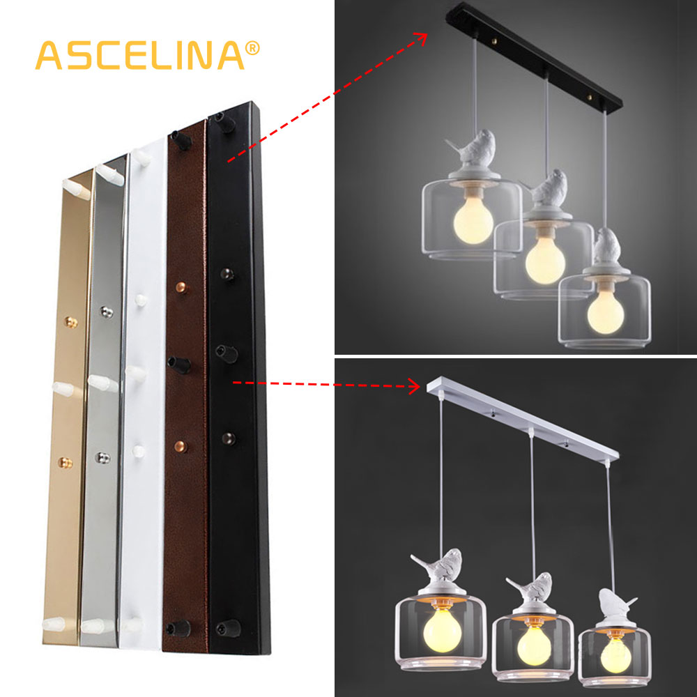 ASCELINA Ceiling Plate Canopy Plate Three Lamps Light Fitting Base Ceiling Rectangular Strip DIY Lamp Accessories Pendant Lamp