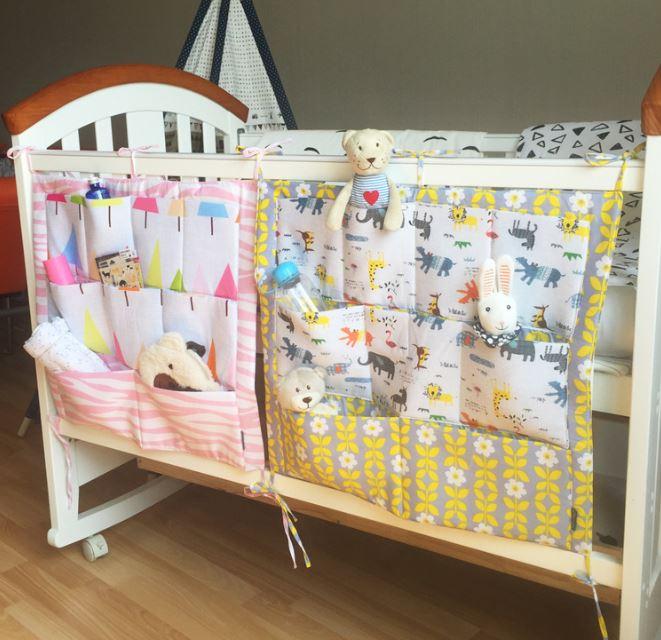Baby Cot Bed Hanging Storage Bag Crib Organizer 60 50cm