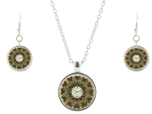 Vintage Charms Flowers necklace earring Painted Steampunk Pendants Necklaces Clock Watches Dome Glass Necklaces Jewelry sets