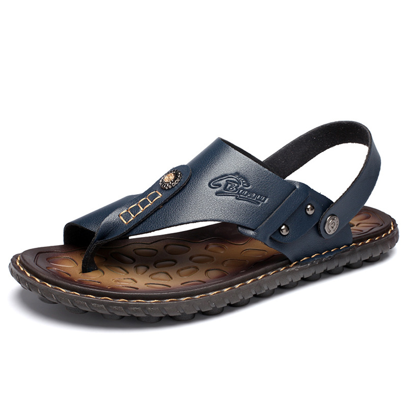540656010d111 Flat Slip On Men Mens Sandals 2018 Summer Outdoor Genuine Leather Open Toe Slippers  Fashion Casual Shoes Black Beach Slides