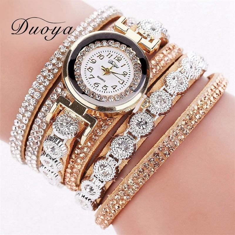 Duoya merk mode luxe strass armband horloge dames quartz horloge - Dameshorloges