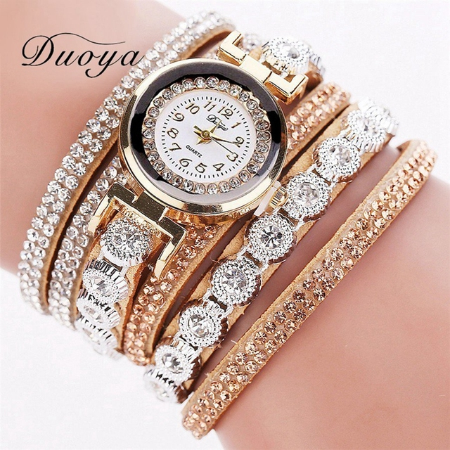 Duoya Brand Fashion Luxury Rhinestone Bracelet Watch Ladies Quartz Watch Casual