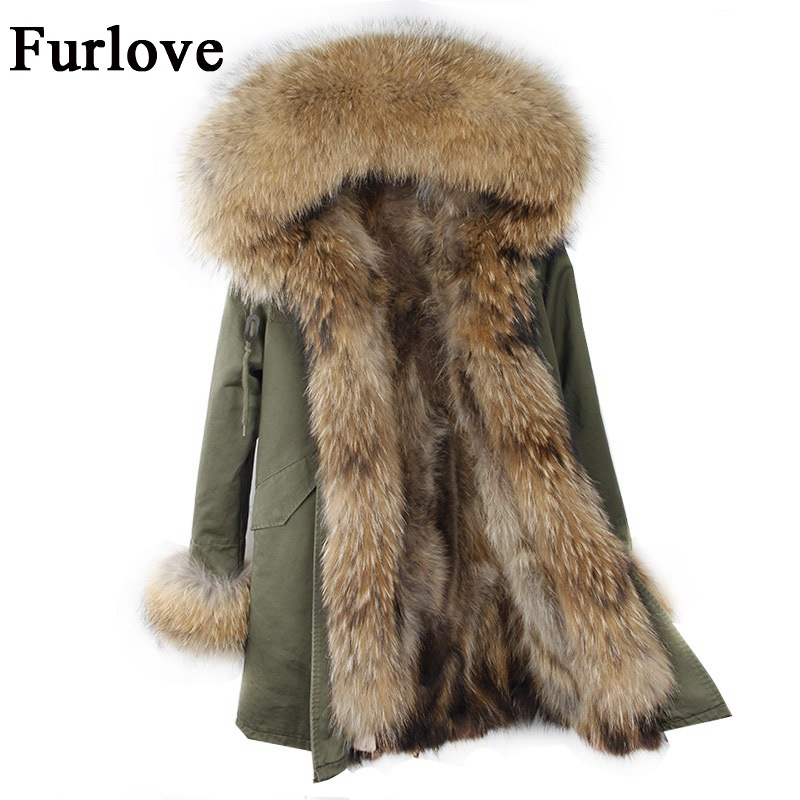 Womens Winter Jacket Women Coat Jackets Real Raccoon Fur Collar And Lining Parkas Vintage Warm Thick Army Green Black Long Parka 2017 winter new clothes to overcome the coat of women in the long reed rabbit hair fur fur coat fox raccoon fur collar