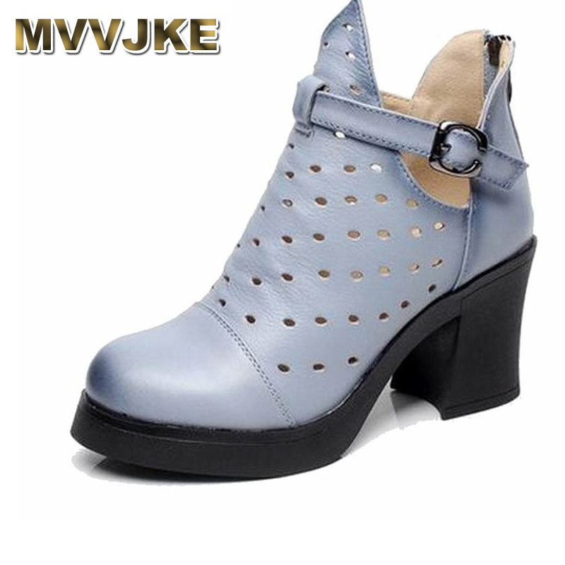 MVVJKE High Quality Genuine Leather Shoes 2018 Spring Summer Fashion Ankle Boots Women Boots Soft Casual high heel Women Shoes high quality genuine leather women shoes fashion female casual shoes heart