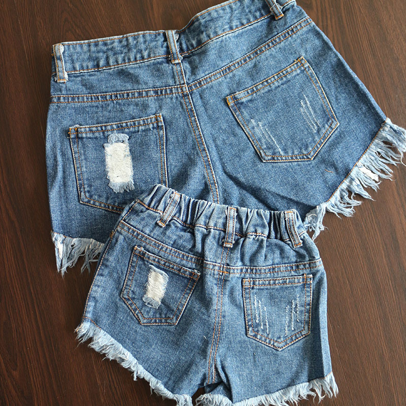 2016 new family clothing shorts look denim shorts children for Matching denim shirt and jeans