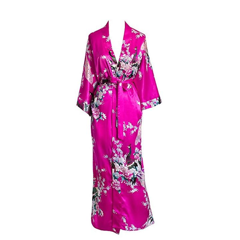 Image 2 - Plus Size XXXL Chinese Women Long Robe Print Flower Peacock Kimono Bathrobe Gown Bride Bridesmaid Wedding Robes Sexy Sleepwear-in Robes from Underwear & Sleepwears
